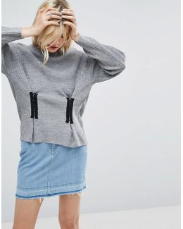 Jumper In Rib With Corset Front Detail