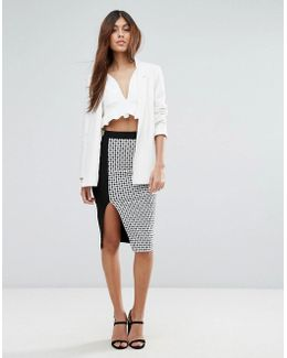 Pencil Skirt In Checked Print