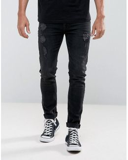 Skinny Jeans In 12.5oz Black With Rips