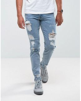 Stretch Slim Jeans In Vintage Light Wash With Heavy Rips