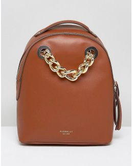 Anouk Mini Backpack In Tan With Chain Detail