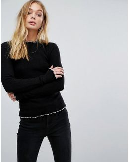 High Neck Jumper With Contrast Trime