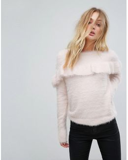 Jumper With Frill In Fluffy Knit