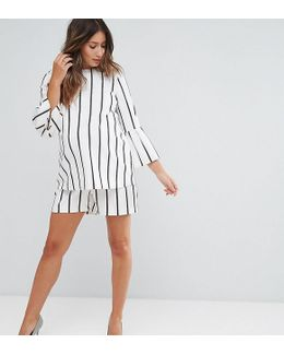 Blurred Stripe Paperbag Waist Short Co-ord