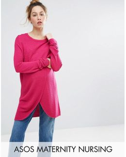 Nursing Wrap Over Jumper In Textured Stripe