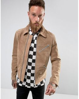 Blake Suede Biker Jacket In Stone