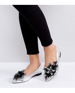 Lily Of The Valley Wide Fit Embellished Ballet Flats