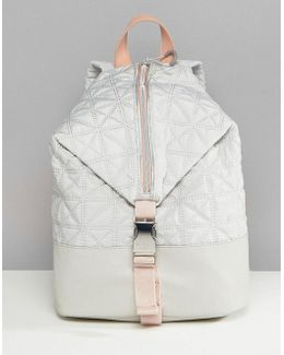 Sport Quilted Zip Detail Backpack In Grey