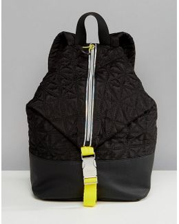 Sport Quilted Zip Detail Backpack In Black