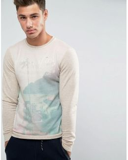 Surfing Print Sweater
