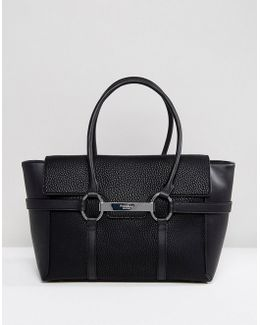 Barbican Foldover Black Tote Bag With Metal Bar Detail