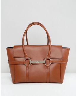 Barbican Foldover Tan Tote Bag With Metal Bar Detail
