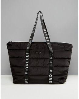 Sport Puffer Padded Holdall Bag In Black