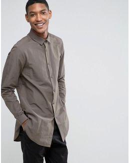 Regular Fit Super Longline Shirt In Khaki