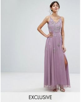 Cami Maxi Dress With Star Embellishment And Split