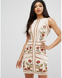 Floral Embellished Shift Dress