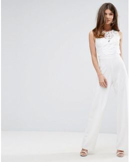 Wide Leg Jumpsuit With Lace Overlay