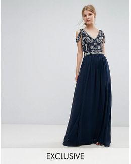 Cold Shoulder Maxi Dress With Embellishment