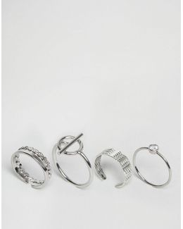 Limited Edition Pack Of 4 Textured Ring Pack