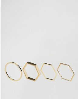 Limited Edition Pack Of 4 Sleek Geo Minimal Rings