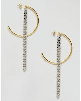Limited Edition Half Hoop And Chain Drop Earrings