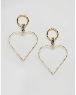 Limited Edition Open Heart And Wrapped Chain Hoop Earrings