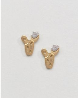 Limited Edition Metal Cactus Stud Earrings
