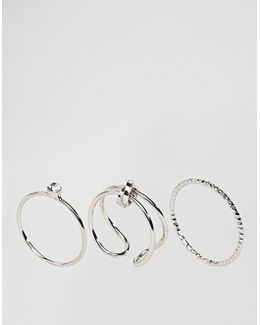 Limited Edition Pack Of 3 Sleek Knot Ring Pack