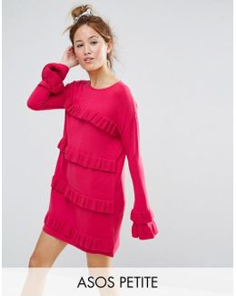 Dress With Ruffle And Fluted Sleeve