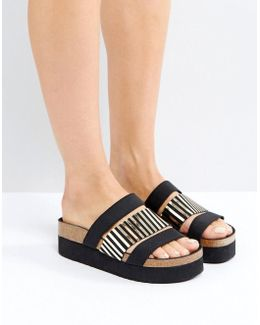 Black Triple Strap Slider Sandals
