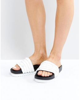 White Raffia Slider Sandals