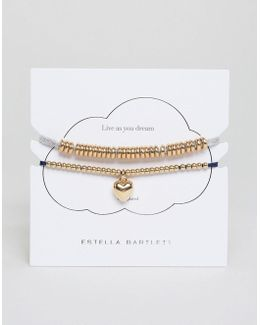 Anna Grey & Liberty Navy Duu Gold Plated Bracelet Pack