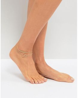 Pack Of 2 Pretty Bead Chain Anklets