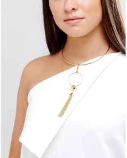 Open Circle And Ball Tassel Drop Torque Necklace