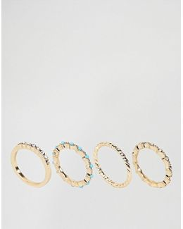 Pack Of 4 Tiny Stone Rings