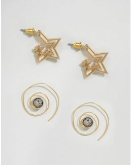Pack Of 2 Star And Swirl Through Earrings