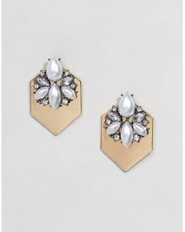 Jewel Encrusted Plate Earrings