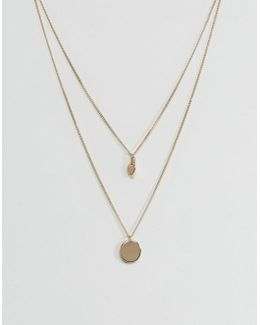 Sleek Disc And Gold Nugget Multirow Necklace