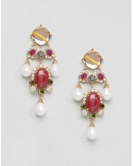 Statement Gemstone Drop Earrings