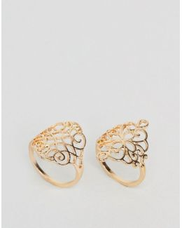 Pack Of 2 Filigree Rings