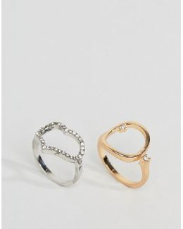 Pack Of 2 Crystal Stone Open Shape Rings