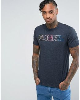 T-shirt Rainbow Original Logo Slim Fit In Navy Marl