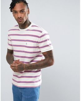 Stripe T-shirt Slim Fit Small Logo Pocket In White