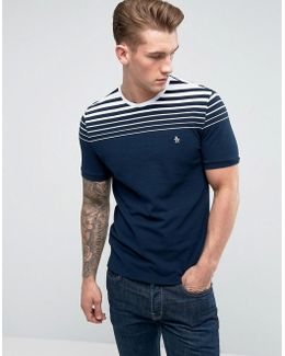 T-shirt Gradient Stripe Slim Fit In Navy
