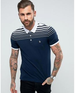 Pique Polo Gradient Stripe Slim Fit Small Logo In Navy