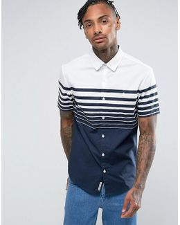 Short Sleeve Slim Fit Shirt With Gradiant Stripe In Navy