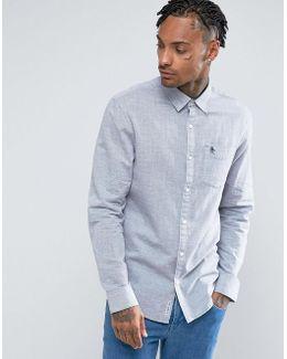 Stripe Shirt Slim Fit Slub Linen In Navy