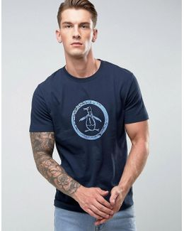 T-shirt Distressed Circle Logo Slim Fit In Navy
