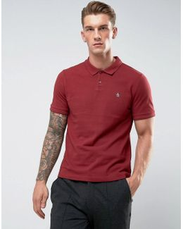 Winston Polo Pique Small Logo Slim Fit In Dark Red
