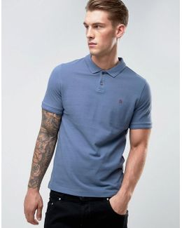 Winston Polo Pique Small Logo Slim Fit In Dark Blue